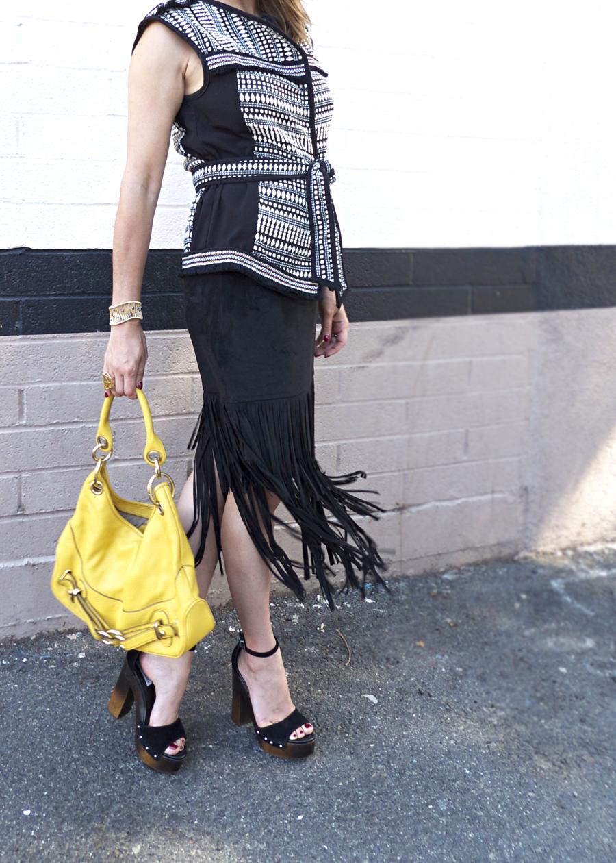 boho chic fringe skirt yellow bag ootd