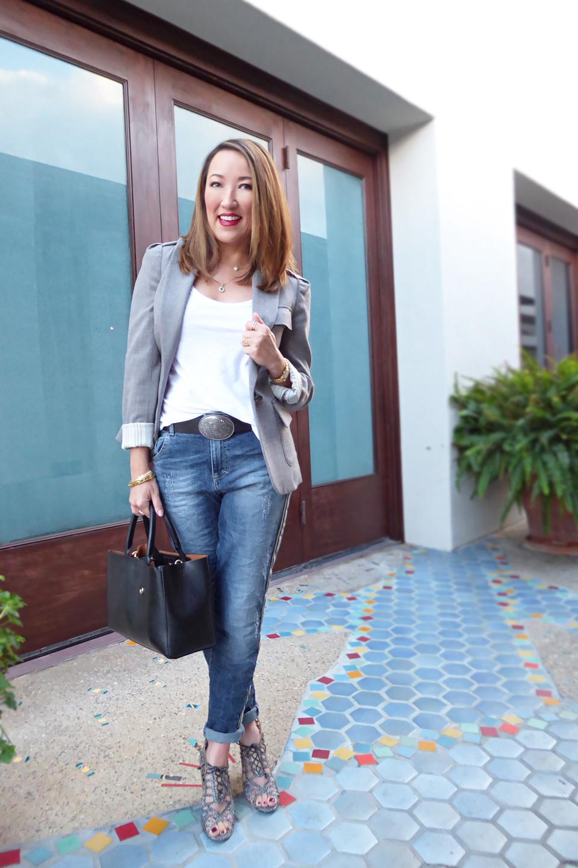 maryley jeans grey tweed blazer