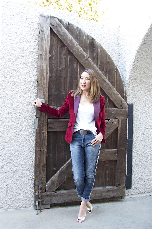 maryley jeans maroon tux blazer