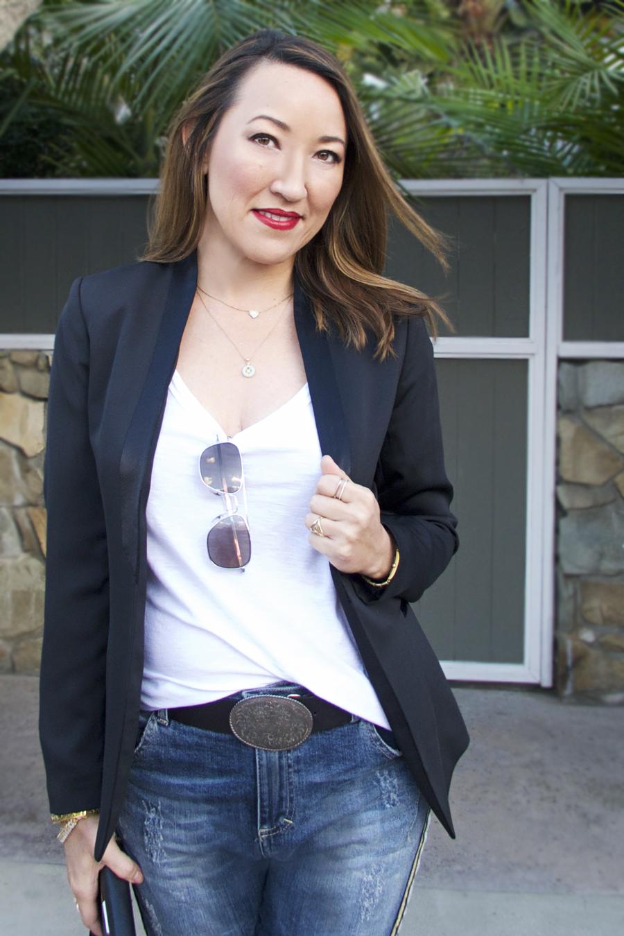mvl blk tux blazer with Maryley jeans