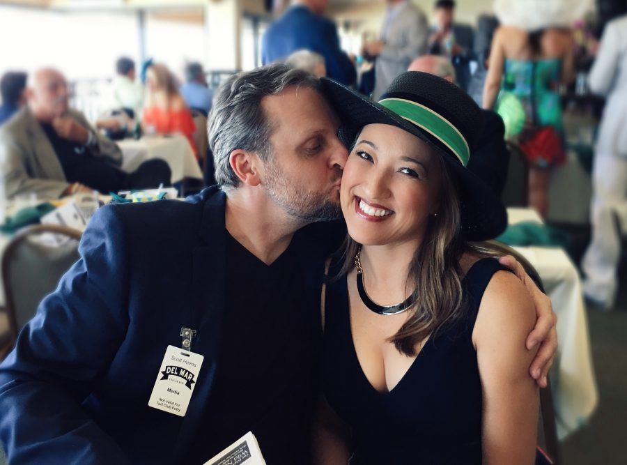 maria von losch with fiance opening day 2016 del mar races