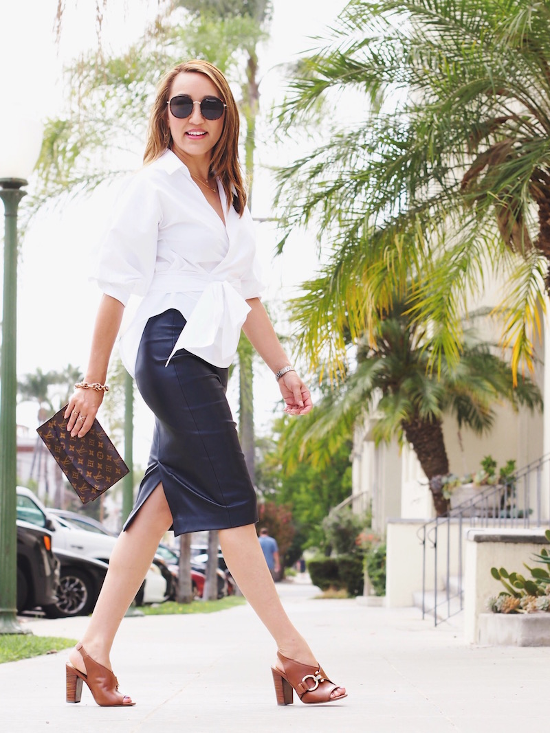 how-to-wear-leather-pencil-skirt