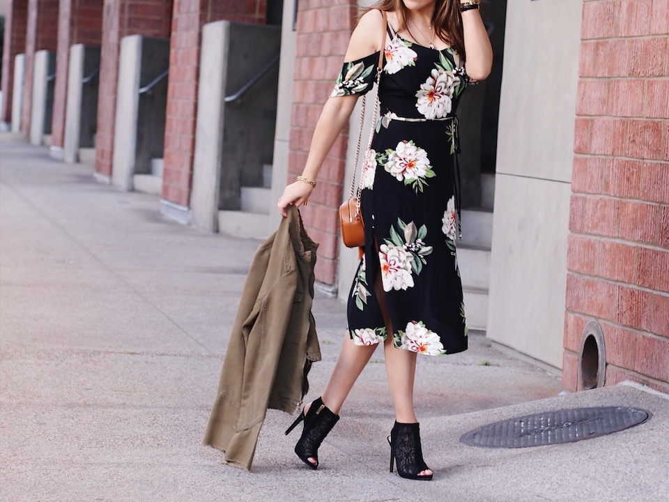 Top Cold-Shoulder Floral Dresses