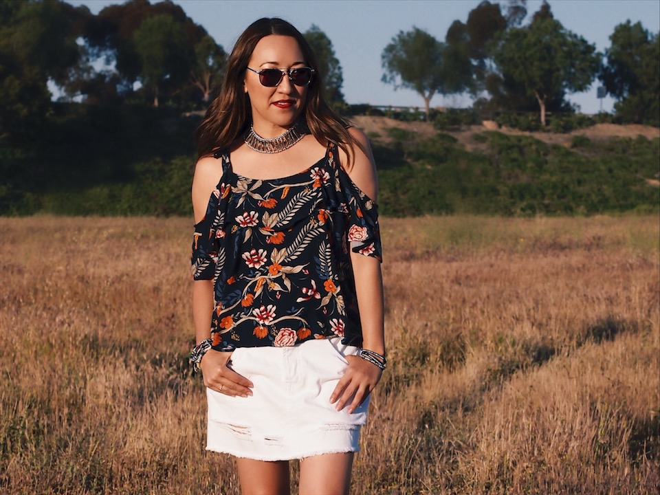 Spring Trends: Florals, the Cold-Shoulder and White Denim Skirt