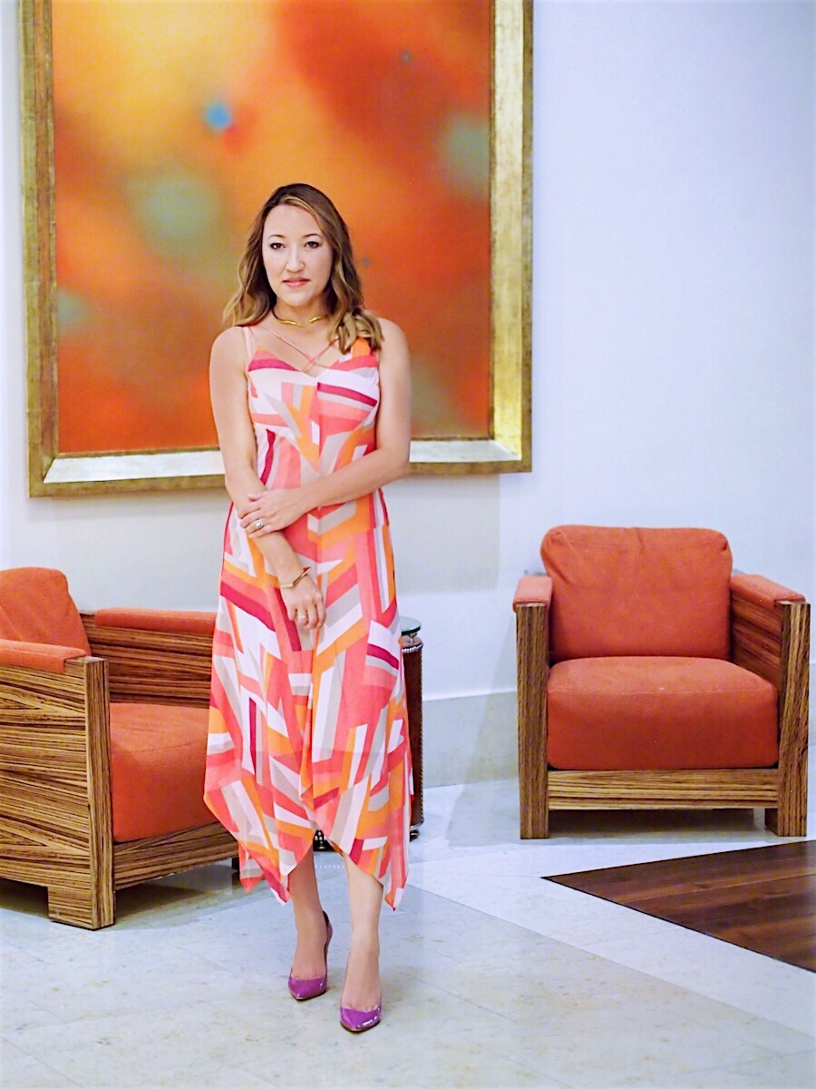 Geometric-print-wedding-guest-dress-2