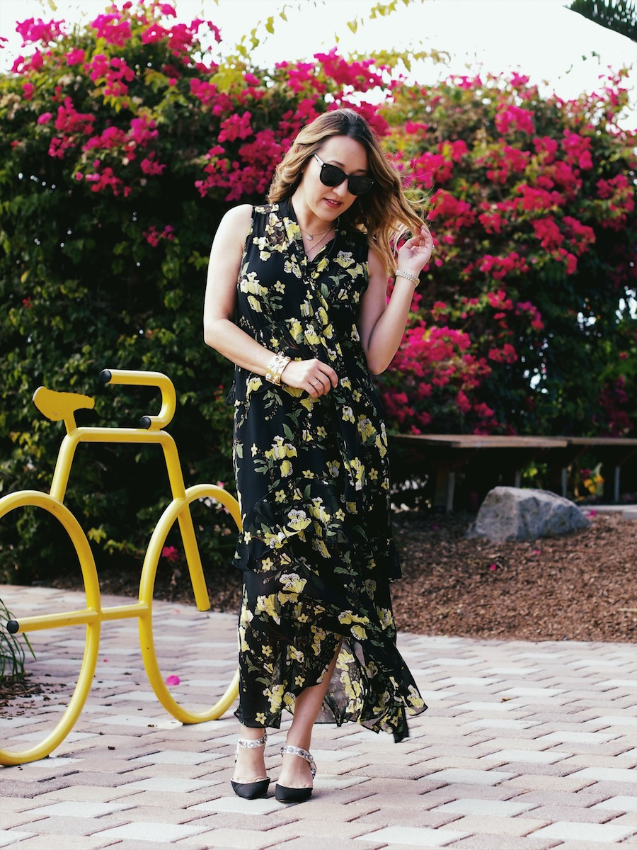 How to style dark floral dresses for fall